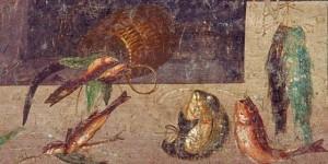 Procedimento di lavorazione del garum o liquamen (da un affresco di Pompei)