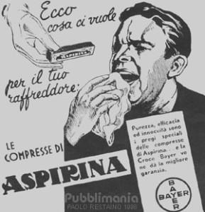 Vecchio manifesto pubblicitario dell'Aspirina