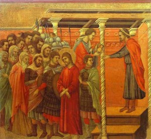 """""""Ponzio Pilato si lava le mani"""" di Duccio da Boninsegna (1257-1318)"""