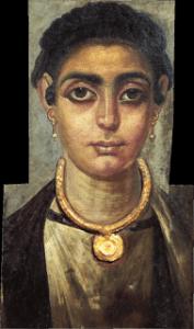 Donna dell'Antica Grecia con trucco degli occhi accentuato
