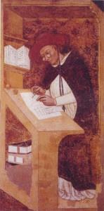 Un uomo affetto da miopia con occhiali nel Medioevo