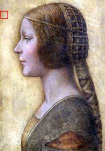 Giovane donna del XIV secolo con una tipica acconciatura dell'epoca