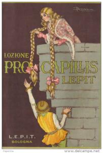 Vecchia pubblicità di una lozione per capelli (anni 20 del '900)