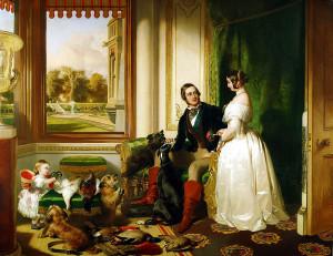 La Regina Vittoria e il Principe Alberto di Sassonia Coburgo-Gotha ritratti nel Castello di Windsor
