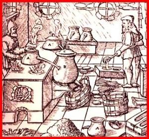Un laboratorio di sapone nel Medioevo