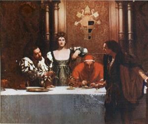 Un bicchiere di vino con Cesare Borgia, opera di John Collier. Sono ritratti Alessandro VI, Cesare e Lucrezia, sospettati di incesto già dai contemporanei