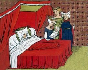 Nascita di un bambino nel Medioevo