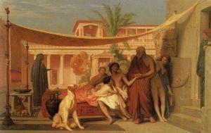 Socrate e Alcibiade in casa di Aspasia, dipinto di Jean-Léon Gérome. La prostituzione nell'Antica Grecia era un fenomeno diffuso e diversificato