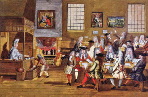 Interno del primo Coffee House a Boston, Inghilterra, 1689 (Anonimo)