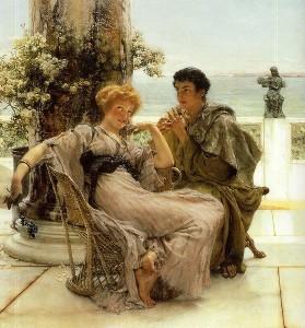 Una proposta di matrimonio nell'Antica Roma. Quasi sempre le spose erano bambine o poco più (Dipinto di Lawrence Alma-Tadema)