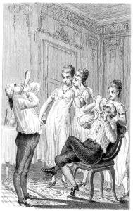 Casanova (a sinistra) gonfia con la bocca un preservativo