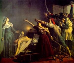 Ricostruzione artistica della morte di Marat