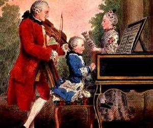 Mozart bambino con il padre e la sorella