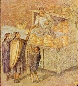 Fornai e pane in un affresco di Pompei