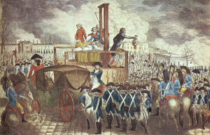 Esecuzione di Luigi XVI (21 Gennaio 1793). Il corpo del re fu oggetto di sciacallaggio da parte di alcuni cittadini presenti