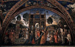 """L'affresco del Pinturicchio """"La disputa di Santa Caterina"""". Lucrezia Borgia è al centro della scena"""