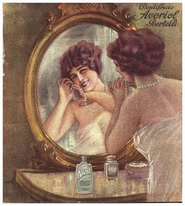 Vecchia pubblicità novecentesca di un dentifricio. L'acido fenico era molto usato nella cosmesi dell'epoca, ma è stato in seguito in gran parte sostituito per la sua tossicità