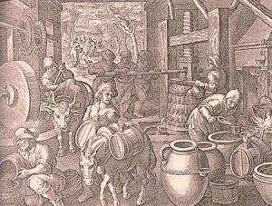 Lavorazione dell'olio in un antico frantoio. Nel '700 l'olio d'oliva italiano era il più rinomato d'Europa