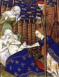 Un parto nel Medioevo. Nel Medioevo gravidanza e nascita erano momenti importanti nella vita familiare