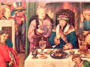 Un ricco banchetto medievale. Solo i ricchi potevano permettersi l'olio d'oliva a tavola