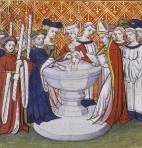 Battesimo di Isabella figlia di Carlo V il Saggio. Siamo in Francia, ma nello stesso periodo trattato in questo post, il '300