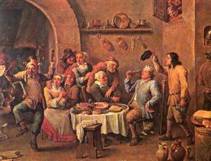 Un'osteria del '600. A partire dal XVII secolo i superalcolici cominciarono a diffondersi tra la popolazione europea