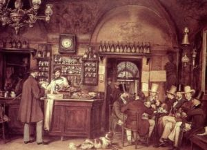 Un'antica caffetteria. Tè, caffè e cioccolata si diffusero in Europa a partire dal '600