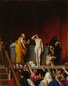 """""""Il mercato degli schiavi a Roma"""" di J.L.Gérome (1884). Lo schiavo era una """"res"""", quindi poteva essere comprato e venduto"""