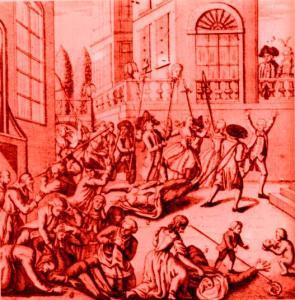 La testa della Principessa  di Lamballe, infilzata su una picca, viene portata in corteo davanti alla prigione del Tempio, dove si trova rinchiusa Maria Antonietta