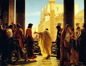 """""""Ecce Homo"""", dipinto di Antonio Ciseri in cui Ponzio Pilato presenta alla folla Gesù flagellato"""