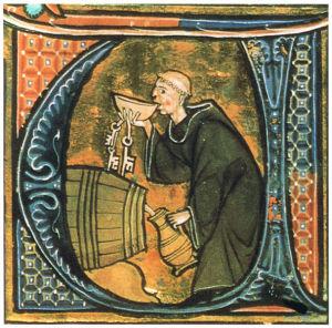 Medioevo: un monaco assaggia il vino. Nelle mense dei conventi si serviva spesso ai pellegrini la minestra, di cui esistevano tante varietà