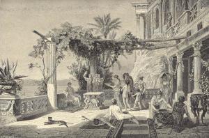 Tiberio a Capri (incisione francese). Sembra che l'Imperatore, nelle sue frequenti orge, traesse ispirazione da una collezione di dipinti erotici che teneva nelle stanze private