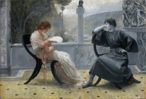 Clodia e Catullo in un dipinto di Giulio Aristide Sartorio (collezione privata)