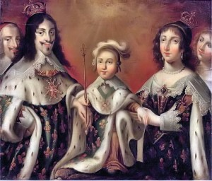 Luigi XIV da bambino ritratto tra i genitori. A lato del re Luigi XIII l'onnipresente Cardinale Richelieu