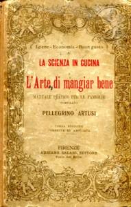 Frontespizio del ricettario di Pellegrino Artusi (1891) da cui è tratta la ricetta della salsiccia con l'uva