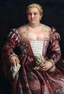 Ritratto di dama seduta con fazzoletto e cagnolino, di Francesco Montemezzano