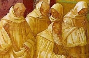 Monaci riuniti in preghiera