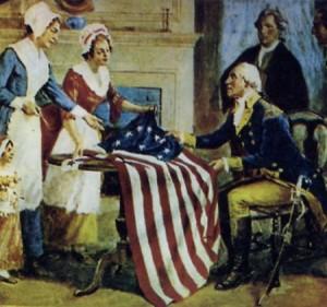 Filatrici di Filadelfia consegnano la bandiera americana a G. Washington
