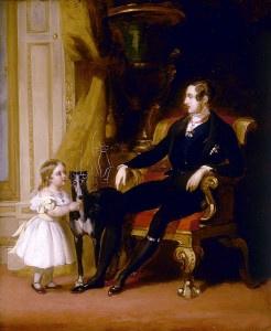 Il dipinto di Edward Landseer raffigura il principe Alberto, il suo amato cane Eos e la principessina Vittoria