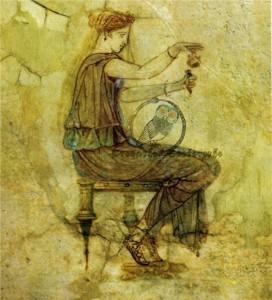 Donna dell'Antica Grecia con un incenso. Teofrasto ci dà informazioni sui profumi in Grecia