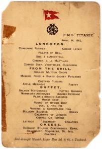 Il menu della cena servita a bordo del Titanic la sera dell'affondamento