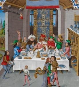 Banchetto medievale. I ricchi usavano piatti smaltati contenenti grandi quantità di piombo, pericoloso per la salute