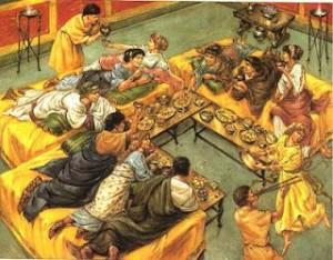 Un antico e sontuoso banchetto. L'uso della forchetta a tavola si affermò in epoca moderna