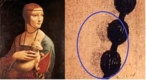 """Ritratto di Cecilia Gallerani o """"Dama con l'ermellino"""" e particolare della collana"""