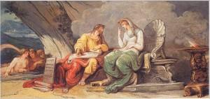 Numa Pompilio si consulta con la ninfa Egeria, che gli dona le leggi di Roma