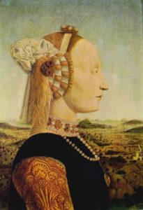 Ritratto di Battista Sforza. La donna sfoggia la tipica fronte alta che all'epoca era di moda