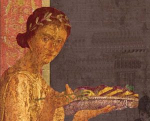 Una donna dell'Antica Roma porta del cibo in tavola (particolare di un affresco)