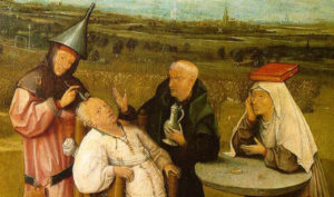 """""""Estrazione della malattia mentale"""" di Hieronymus Bosch (1492). Museo del Prado, Madrid"""