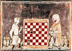 L'antico gioco degli scacchi in una raffigurazione medievale
