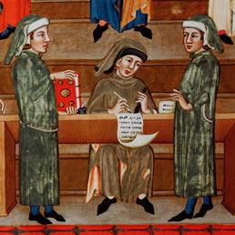 Un atto dal notaio nel Medioevo